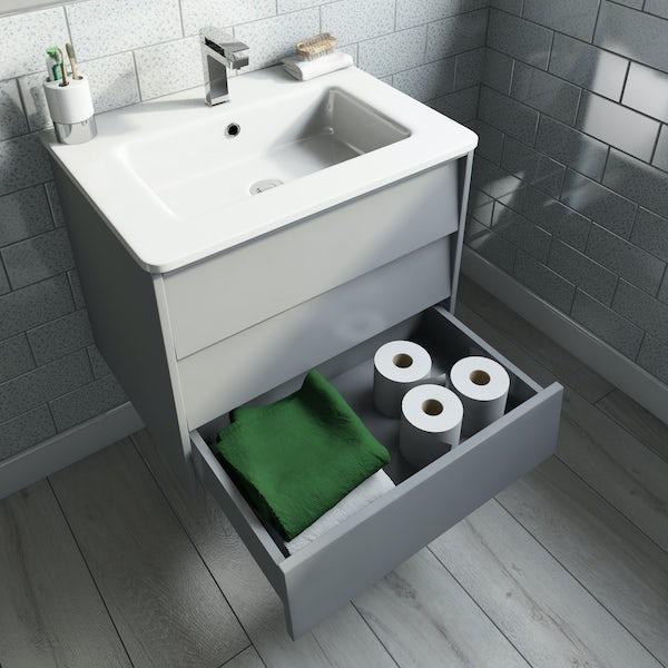 Mode Cortona grey 600mm wall hung vanity unit and basin