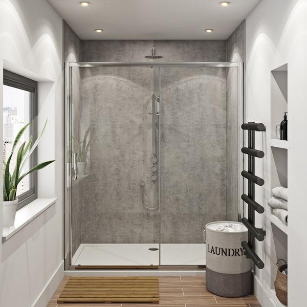 Mode Hardy shower door pack 1700 x 700 with Multipanel Linda Barker Concrete Elements panels