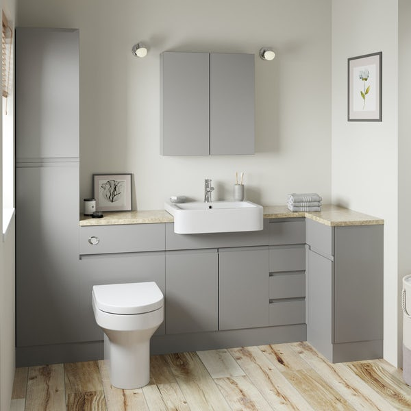 Orchard Wharfe slate grey corner small drawer fitted furniture pack with beige worktop