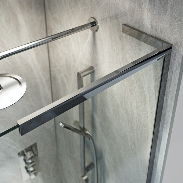 Mode 8mm walk in right handed shower enclosure bundle with black slate effect shower tray