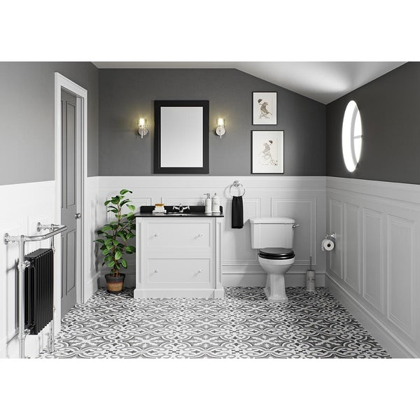 The Bath Co. Camberley toilet and Burghley vanity unit black and white