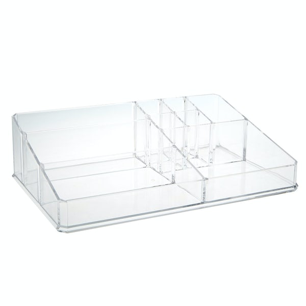 Accents Clear flat cosmetic organiser with 9 compartments