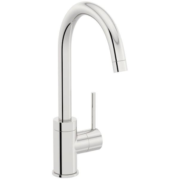 Rangemaster Andesite 1.0 bowl granite kitchen sink with waste and Schon WRAS kitchen tap
