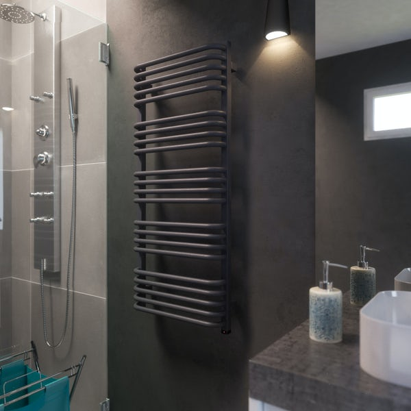 Terma Alex ONE modern grey electric towel rail