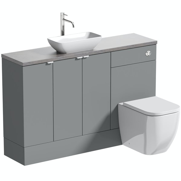 Reeves Wyatt onyx grey small fitted furniture combination with mineral grey worktop and countetop basin