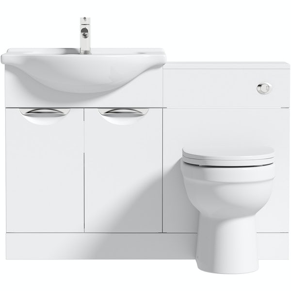 Orchard Elsdon white 1155mm combination with Eden back to wall toilet and soft close seat