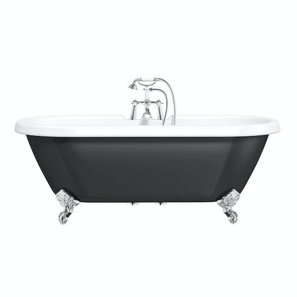 Shakespeare Black Roll Top Bath with Ball Feet