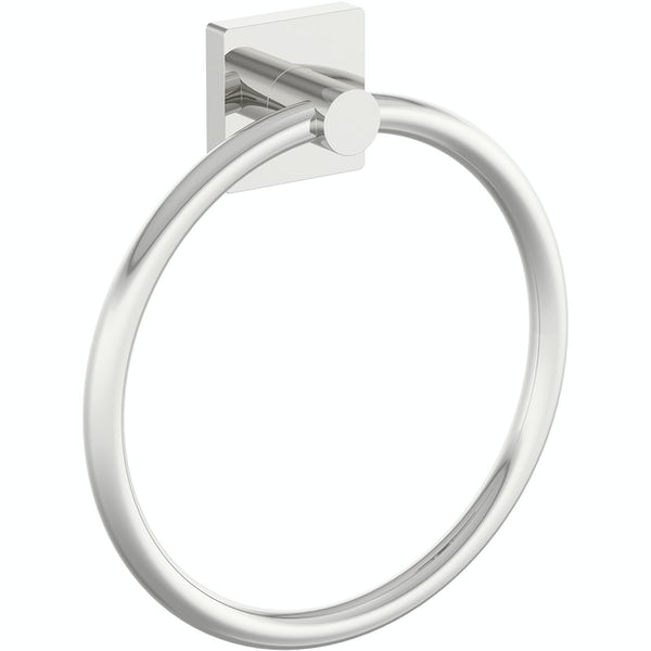 Accents square plate contemporary towel ring