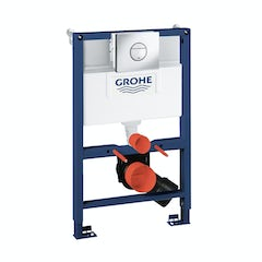Main image for Grohe Rapid SL Set 3 in 1 wall mounting frame with round push button Nova Cosmopolitan flush plate 0.82m