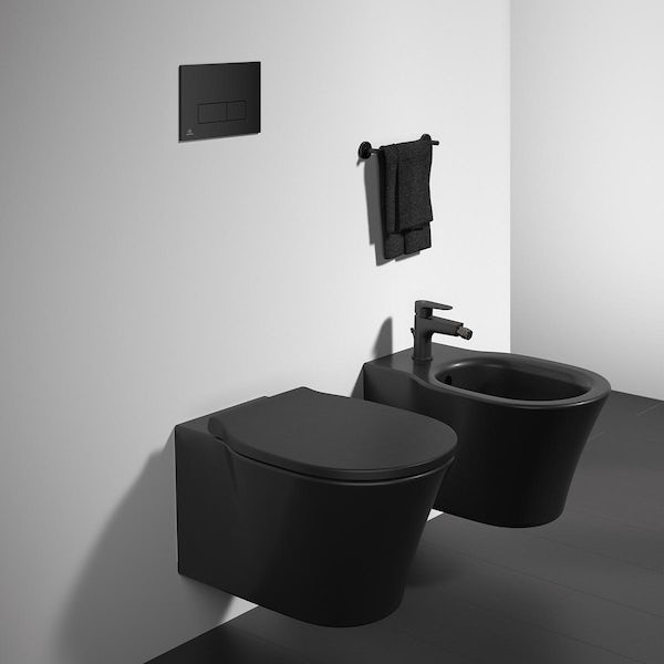 Ideal Standard silk black Oleas M2 flush plate with Prosys 150mm concealed cistern