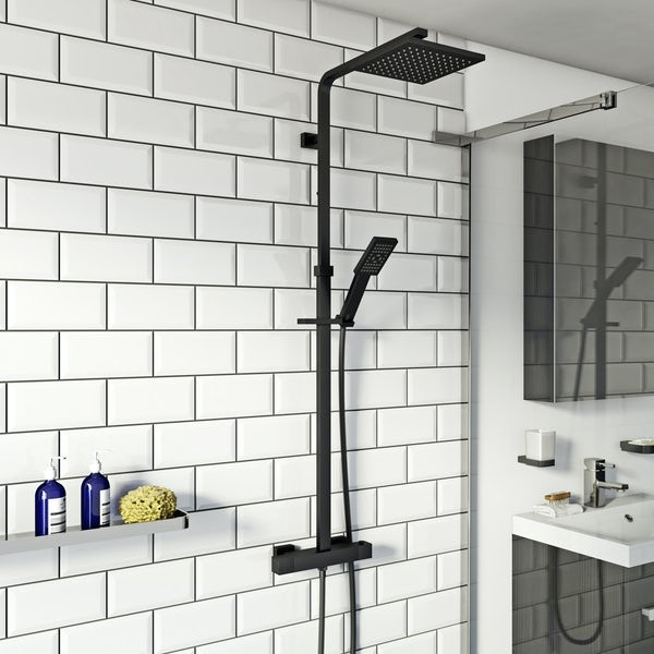 Orchard Wye black thermostatic bar valve shower system