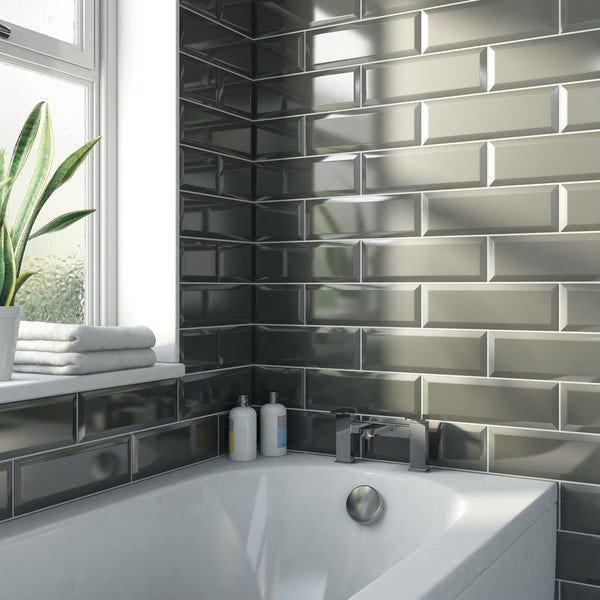 Maxi Metro dark grey bevelled gloss wall tile 100mm x 300mm