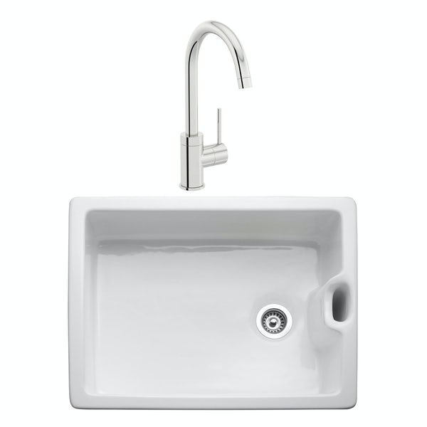 Rangemaster Classic Belfast 1.0 bowl ceramic kitchen sink and Aquaclassic kitchen tap