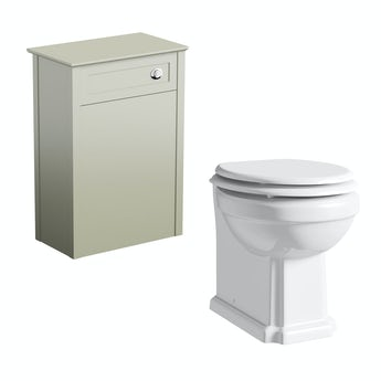 The Bath Co. Camberley sage back to wall toilet unit and traditional toilet with white wooden seat