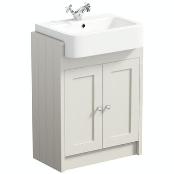 The Bath Co. Dulwich stone ivory floorstanding vanity unit with semi recessed basin 600mm