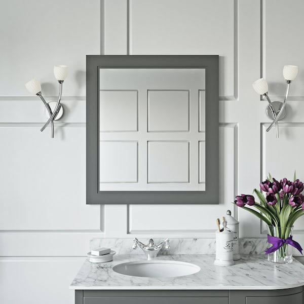 The Bath Co. Chartham slate matt grey bathroom mirror 664 x 590mm