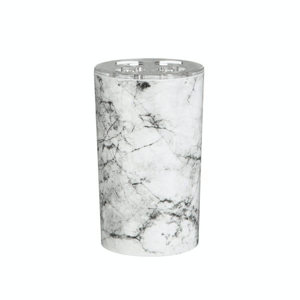 Accents Rome black and white marble effect toothbrush holder