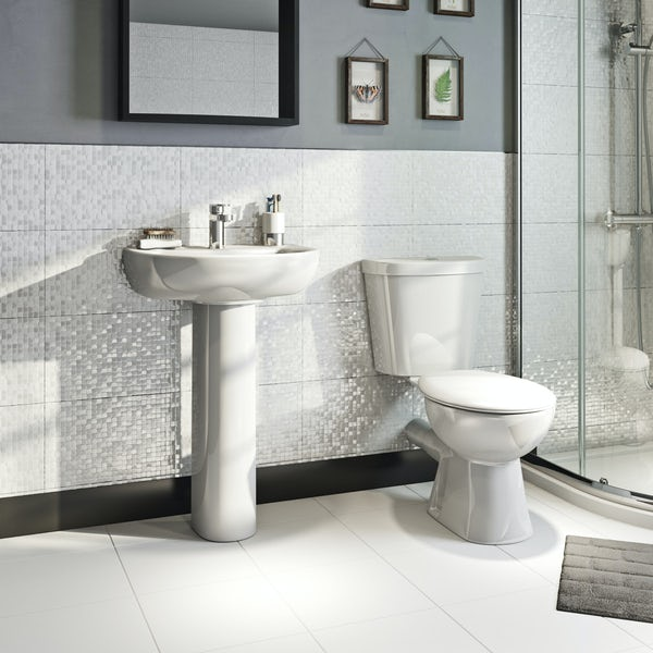 Orchard modern cloakroom suite with 1 tap hole full pedestal basin 540mm