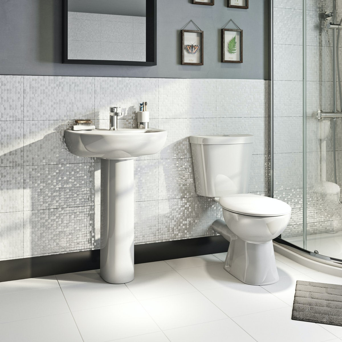 Orchard Modern Cloakroom Suite With 1 Tap Hole Full Pedestal Basin 540mm Victoriaplum Com