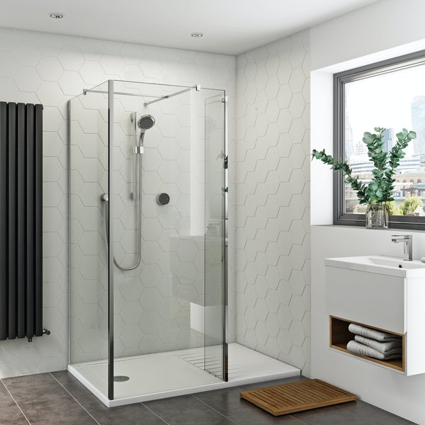 Orchard 8mm walk in corner glass panel return panel and walk in shower tray pack