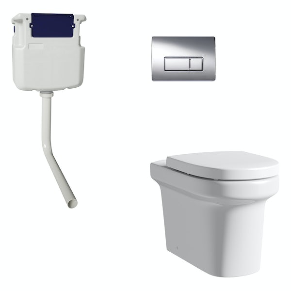Mode Burton back to wall toilet with soft close seat, concealed cistern and push plate