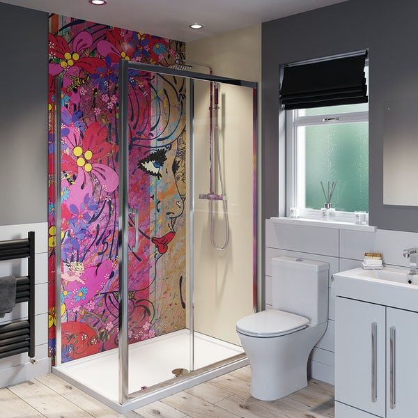 Louise Dear Oooh Yeah! acrylic shower wall panel with 1200 x 800mm rectangular enclosure