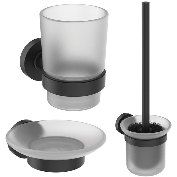 Ideal Standard IOM silk black soap dish, toothbrush and toilet roll holder set