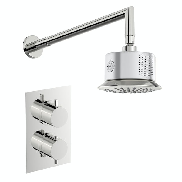 Mode Harrison twin concealed mixer shower with bluetooth head and wall arm