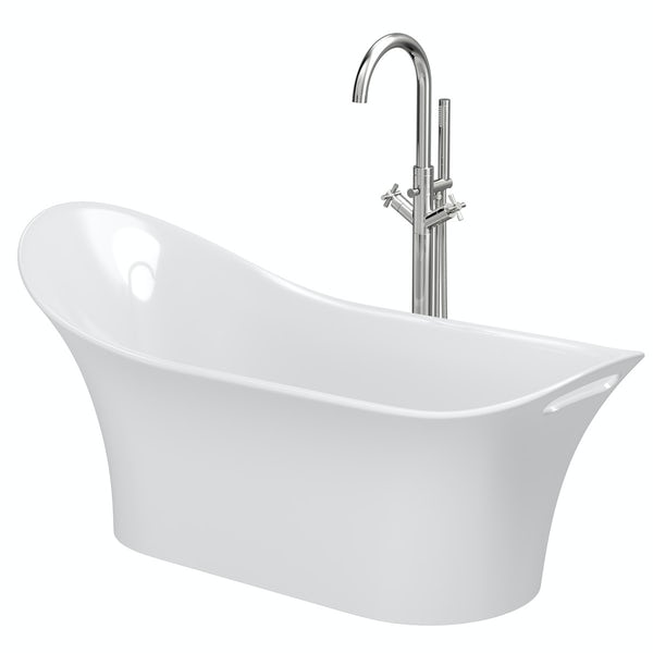 Mode Heath slipper freestanding bath & tap pack with Tate bath filler
