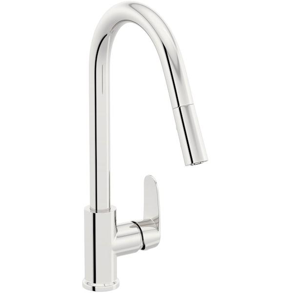 Schon Tresco Plus chrome single lever kitchen mixer tap with pull down spout