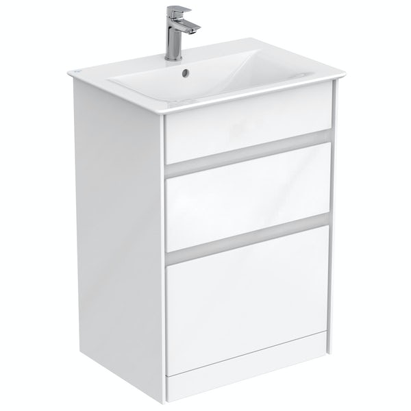 Ideal Standard Concept Air gloss and matt white vanity unit and basin 600mm
