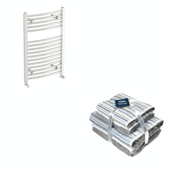 Orchard Elsdon chrome heated towel rail 750x450 with Silentnight Zero twist grey 4 piece towel bale