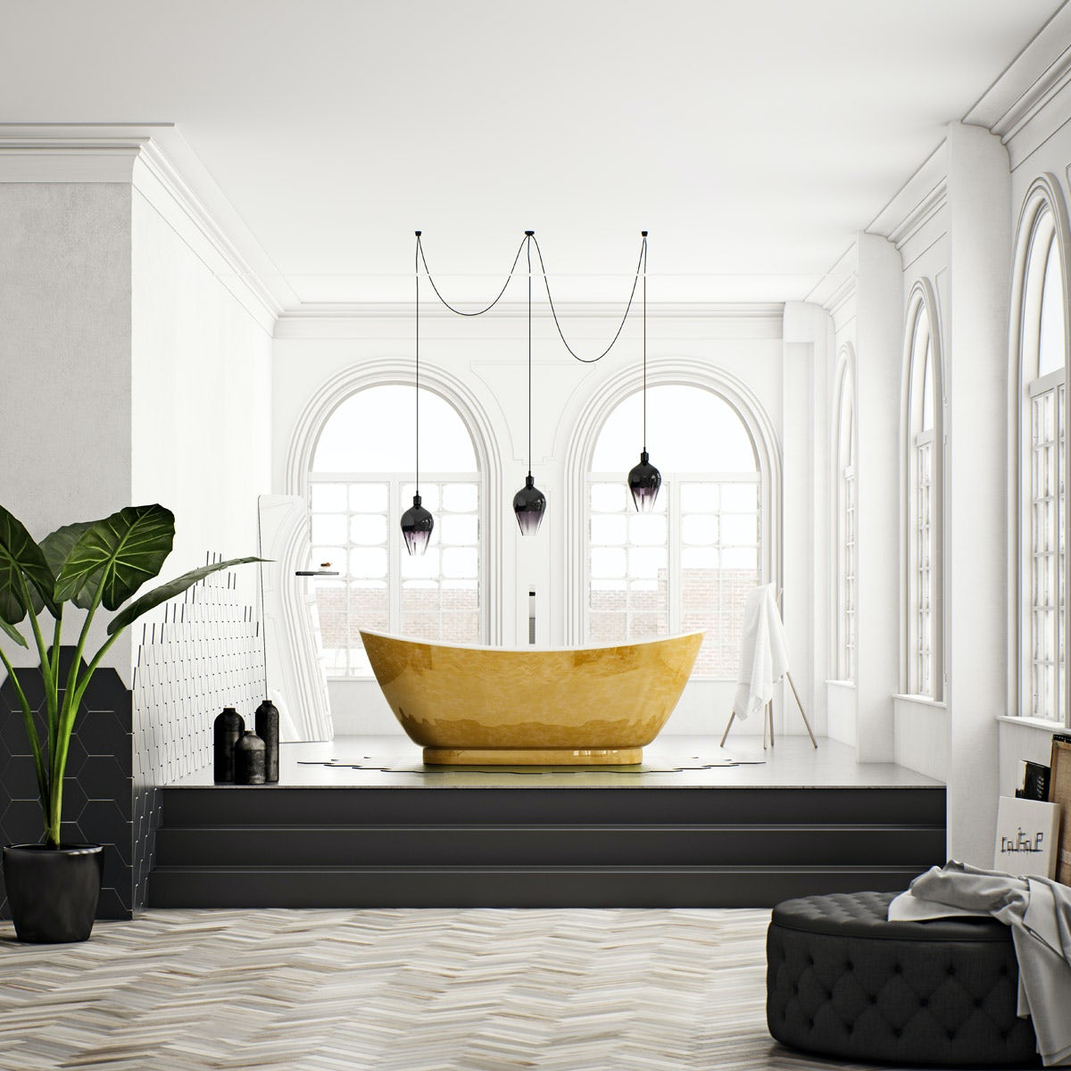 Belle de Louvain Galvez gold effect freestanding bath 1750 x 750
