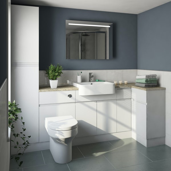 Orchard Wharfe white corner small storage fitted furniture pack with beige worktop