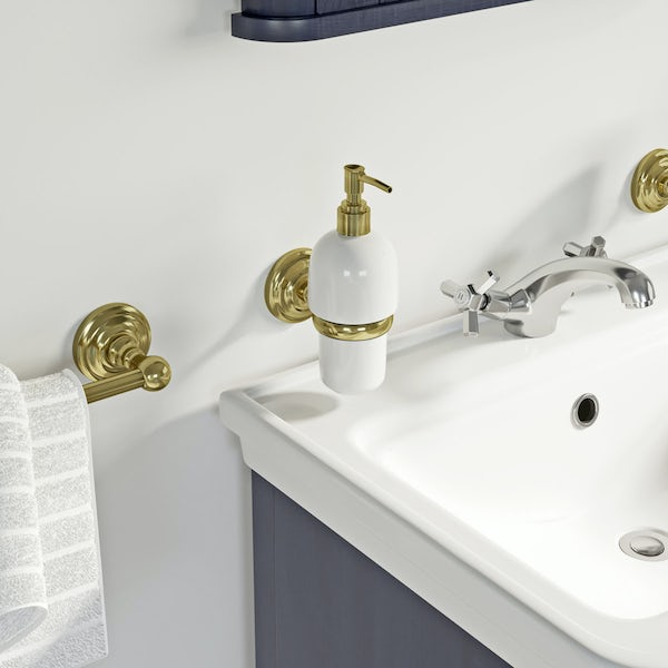 The Bath Co. 1805 gold soap dispenser and holder