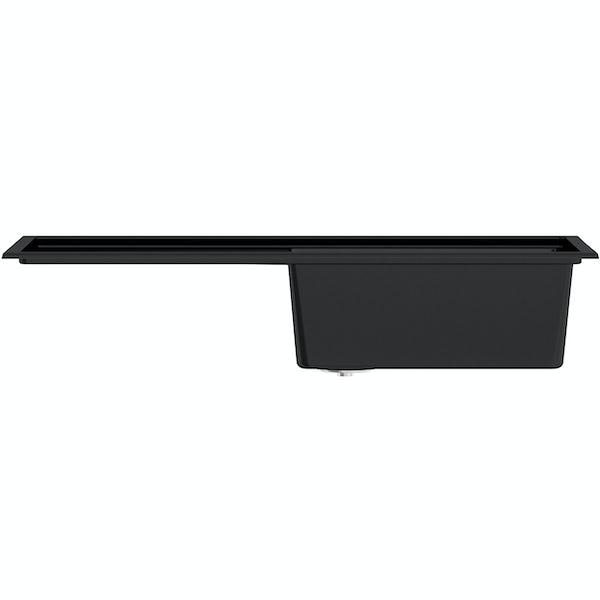 Schon Windermere universal 1.0 deep bowl black granite kitchen sink with waste
