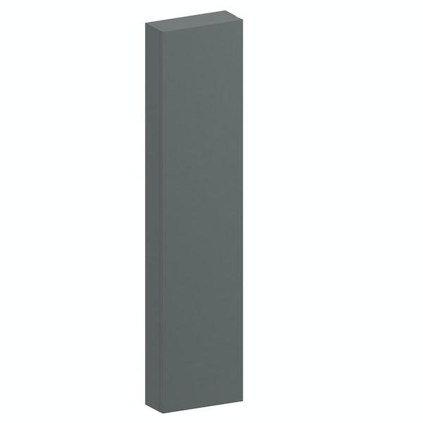 Slimline slate gloss wall hung cabinet 1250 x 300mm