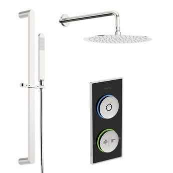 SmarTap black smart shower system with round slider rail and wall shower set