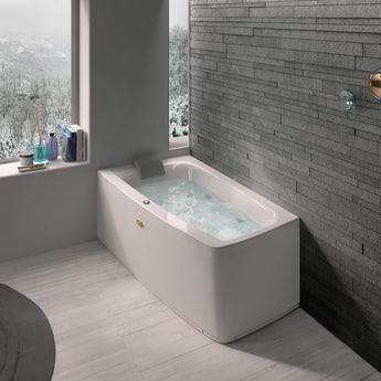 Jacuzzi Essentials left handed compact offset corner whirlpool bath 1580 x 900