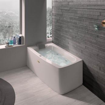 Jacuzzi Essentials left handed compact offset corner whirlpool bath 1580 x 900