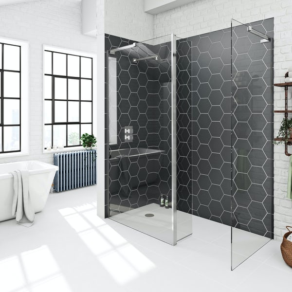 Mode 8mm wet room panel pack with hinged return panel