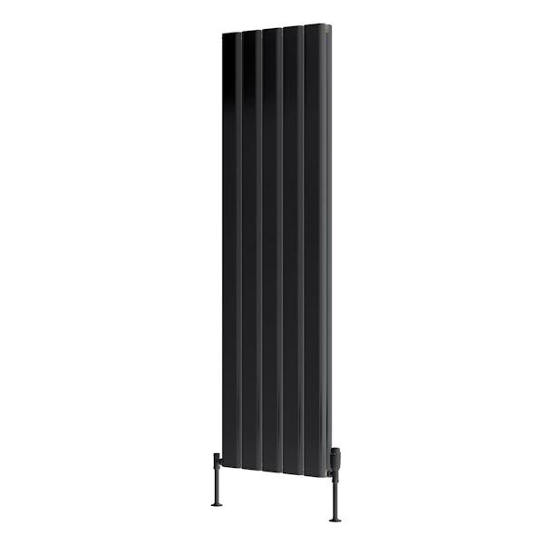 Reina Vicari anthracite grey double vertical aluminium designer radiator