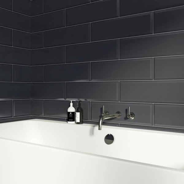 V&A Maxi Metro anthracite gloss tile 148mm x 498mm