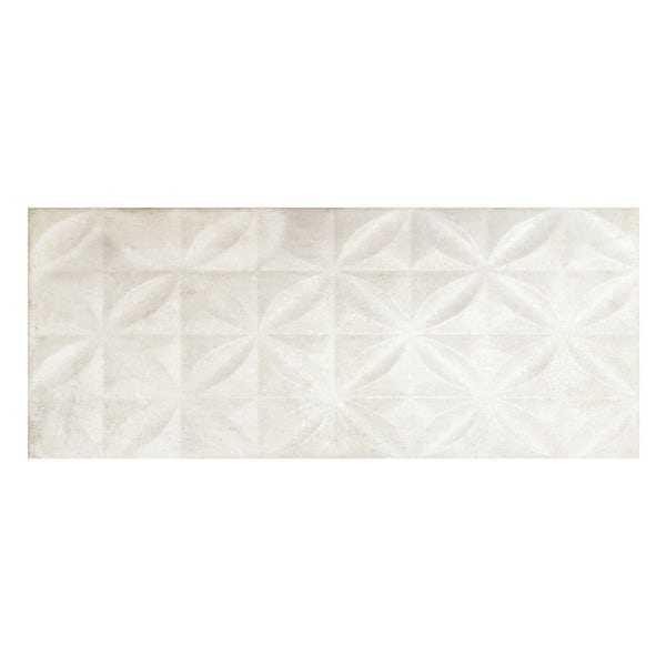 Geneva white stone effect textured leaves wall tile 250mm x 600mm