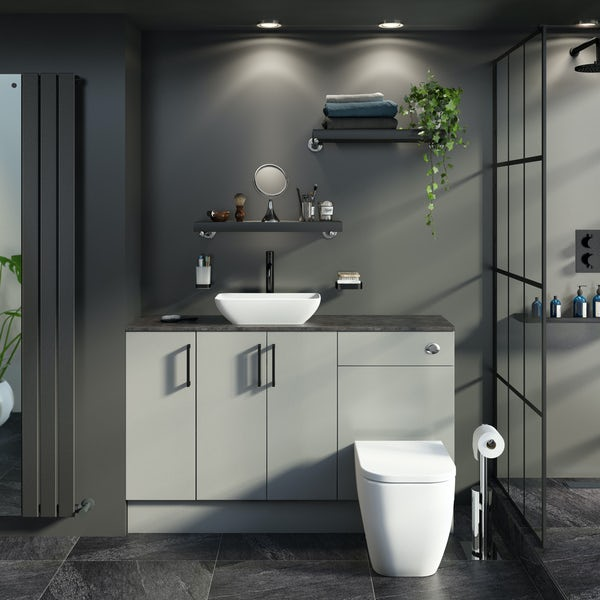 Reeves Wyatt light grey small fitted furniture combination with mineral grey worktop and countetop basin