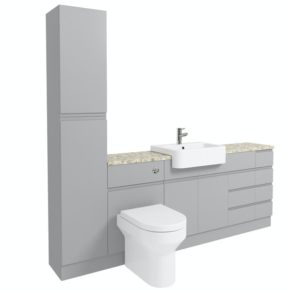 Orchard Wharfe slate matt grey straight large drawer fitted furniture pack with beige worktop