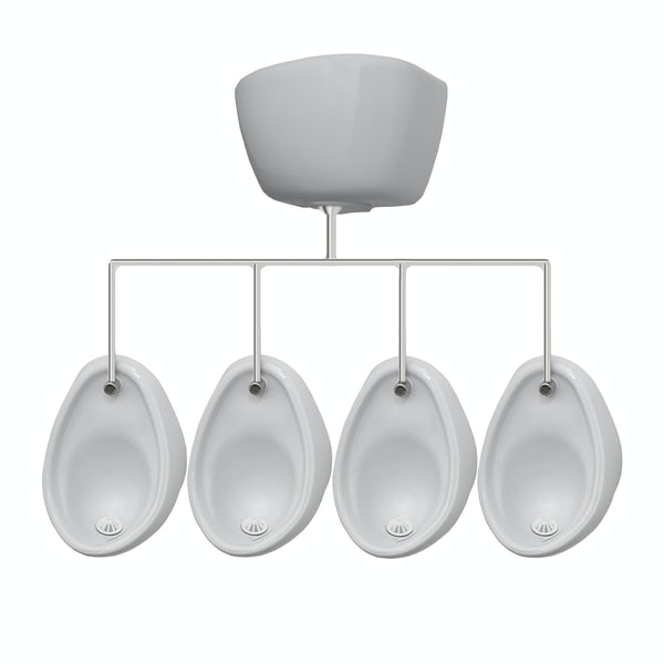 Kirke Curve complete top in exposed urinal 500mm pack for 4 bowls