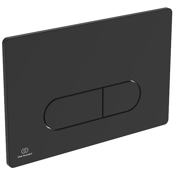Ideal Standard silk black Oleas P1 flush plate with Prosys 120mm concealed cistern