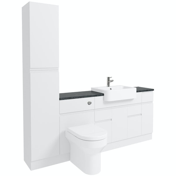 Orchard Wharfe white straight medium storage fitted furniture pack with black worktop