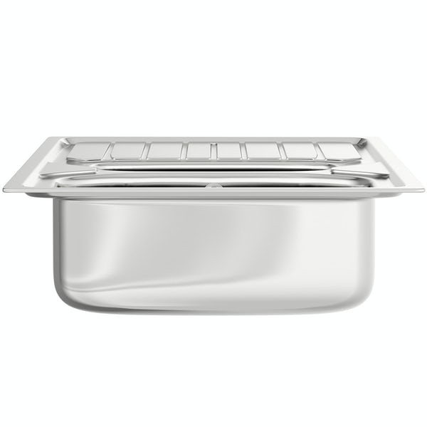 Basix stainless steel 1.5 bowl kitchen sink with polished satin inset kitchen tap